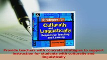 PDF  Strategies for Culturally and Linguistically Responsive Teaching and Learning PDF Book Free