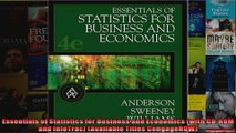 Essentials of Statistics for Business and Economics with CDROM and InfoTrac Available