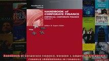 Handbook of Corporate Finance Volume 1 Empirical Corporate Finance Handbooks in Finance