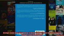 Hedge Fund Due Diligence Professional Tools to Investigate Hedge Fund Managers