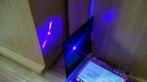 Синяя лазерная указка(синий водонепроницаемый лазер),эффекты на стенке после прожига двд бокса
