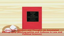 PDF  Anarchist Thinkers and Thought An Annotated Bibliography Bibliographies and Indexes in PDF Online