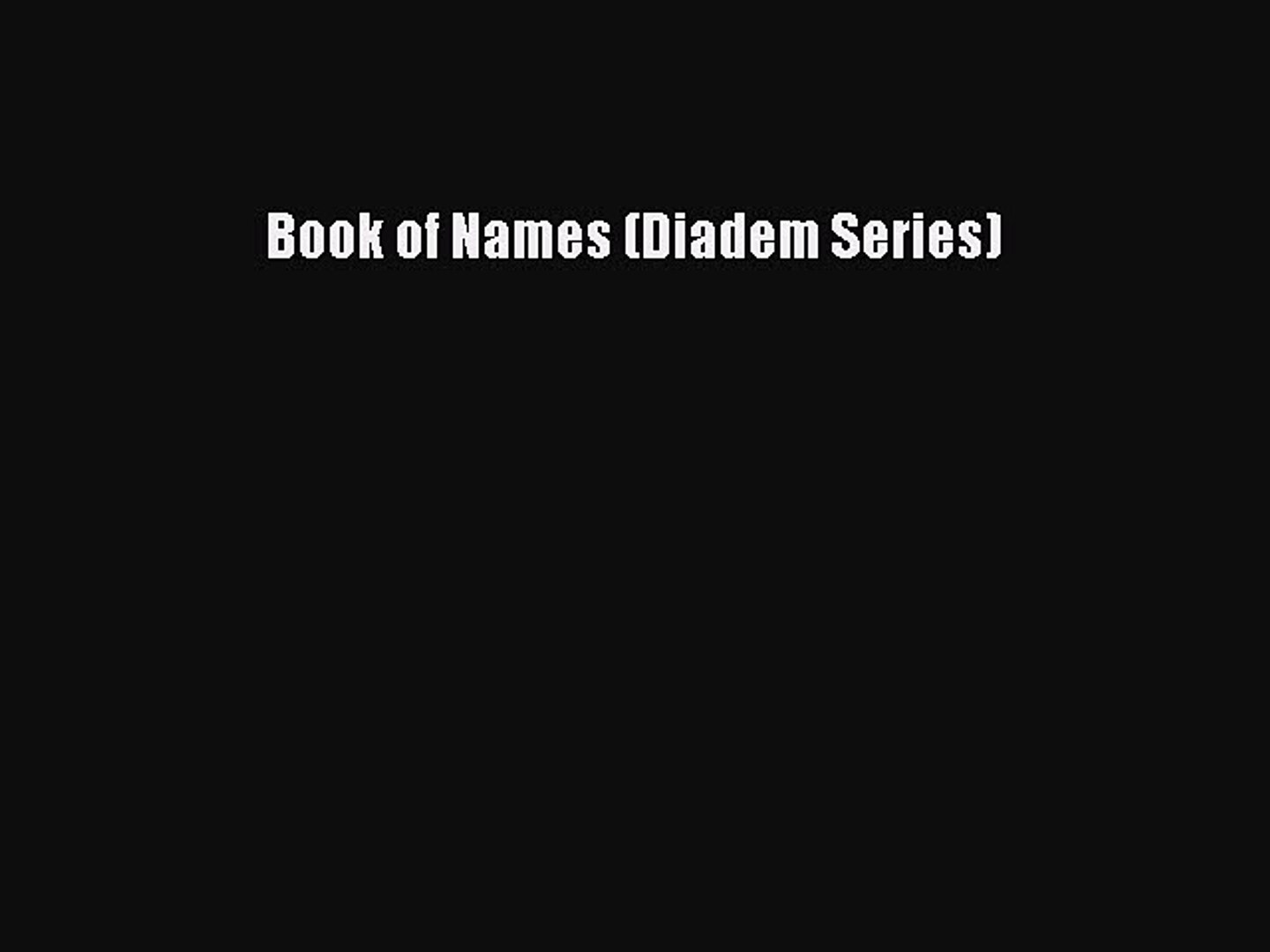 Diadem book of names pdf