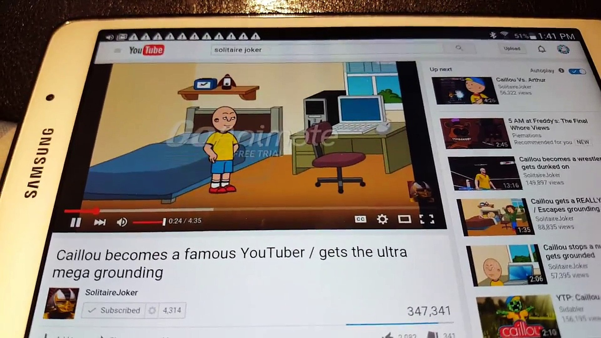 My React Episode #87: Caillou becomes a famous YouTuber/Gets Ultra Mega  Grounding