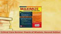 PDF  Critical Care Review Pearls of Wisdom Second Edition PDF Book Free