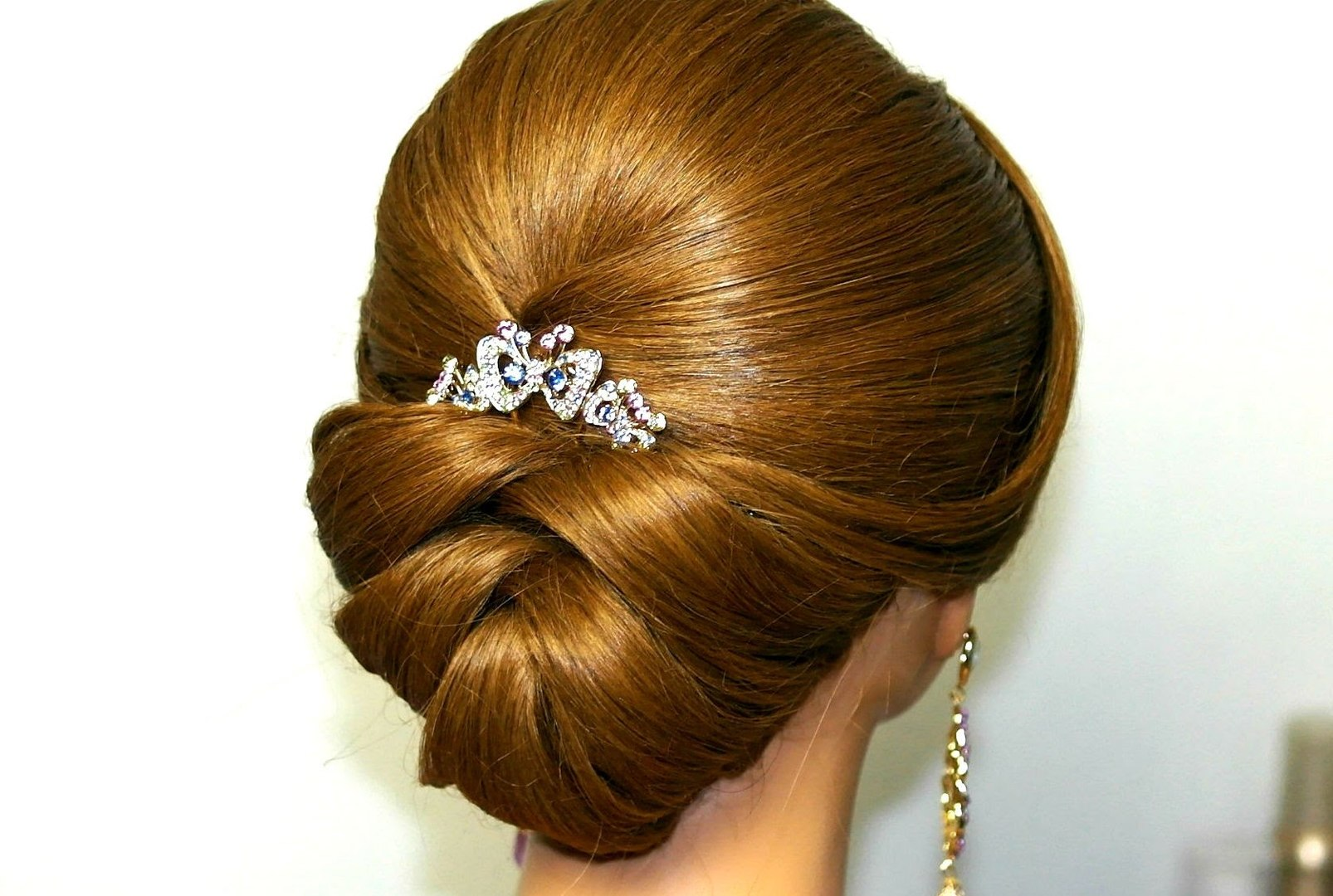 bridal updo. wedding hairstyle for medium long hair.