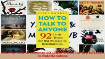 PDF  How to Talk to Anyone 92 Little Tricks for Big Success in Relationships Download Online