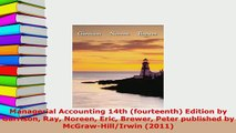 PDF  Managerial Accounting 14th fourteenth Edition by Garrison Ray Noreen Eric Brewer Peter Free Books