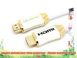LCS - Support plafond - couleur Blanc - pour vidéoprojecteur inclinable et orientable - Câble