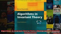 Algorithms in Invariant Theory Texts  Monographs in Symbolic Computation