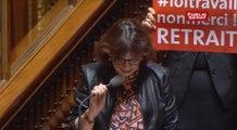 Les sénateurs PCF brandissent une pancarte contre le projet de loi El-Khomri : « Loi travail, non merci ! Retrait »