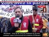 Télévision-Bordeaux-33 la grande Manif du 31 Mars 2016 nous étions plus de 40 mille personnes dans Bordeaux