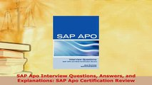 PDF  SAP Apo Interview Questions Answers and Explanations SAP Apo Certification Review Ebook
