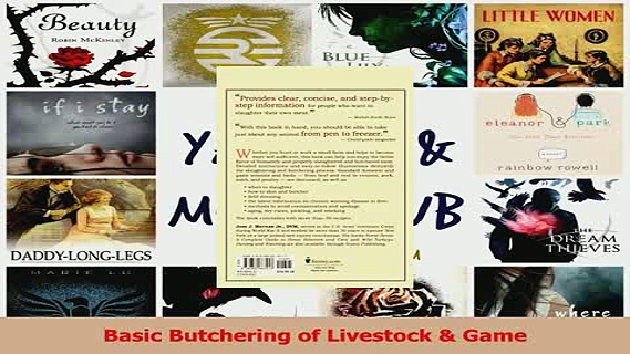 Read  Basic Butchering of Livestock  Game Ebook Free
