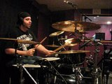 Joey tracking drums for the embalmers daughter EP