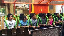 Girl crying on Drop of Doom at Six Flags