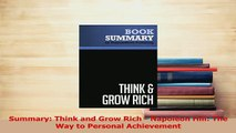 PDF  Summary Think and Grow Rich  Napoleon Hill The Way to Personal Achievement Download Online