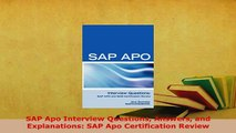 Download  SAP Apo Interview Questions Answers and Explanations SAP Apo Certification Review Ebook