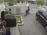 A handbag thief is suprised by his victim