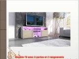 Meuble TV bas Granada en Blanc haute brillance / Avola-Champagne