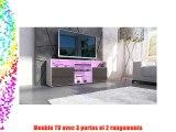 Meuble TV bas Granada en Blanc haute brillance / Chocolat en haute brillance