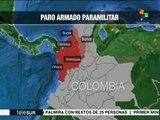 Departamentos afectados por paro armado de paramilitares en Colombia