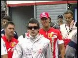 F. Alonso y M. Schumacher saludandose en Monaco (2007)