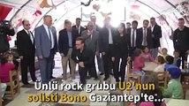 Bono visita refugiados sírios