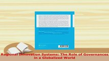 PDF  Regional Innovation Systems The Role of Governances in a Globalized World Ebook