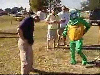 Drunk Guy Getting Kicked in The Balls by a Ninja Turtle