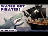 WATCH OUT PIRATES! --- Playmobil and Minion Pirates are attacked by a Shark aboard a Pirate Ship, Featuring a Shark Attack, Playmobil Pirate Ship, Play Doh, and many more family fun toys! An Unboxing Toy Story Review!