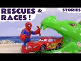 RESCUES AND RACES --- Join Lightning McQueen from Disney Cars with Spiderman in this compilation of race and rescue toy stories, Featuring TMNT, Thomas and Friends, Dragons, The Avengers, Surprise Eggs, Transformers, and many more family fun toys