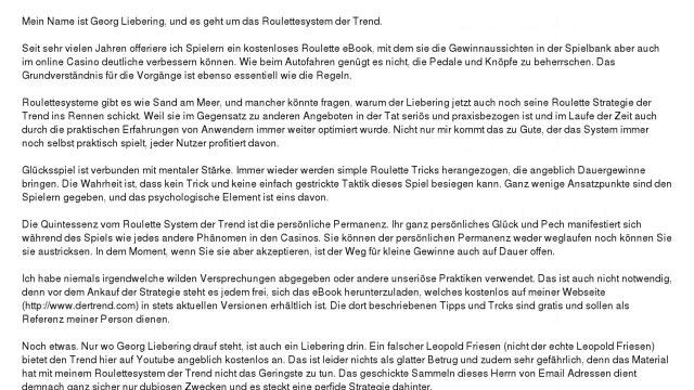 Das Roulette System Der Trend - Einleitung von Georg Liebering