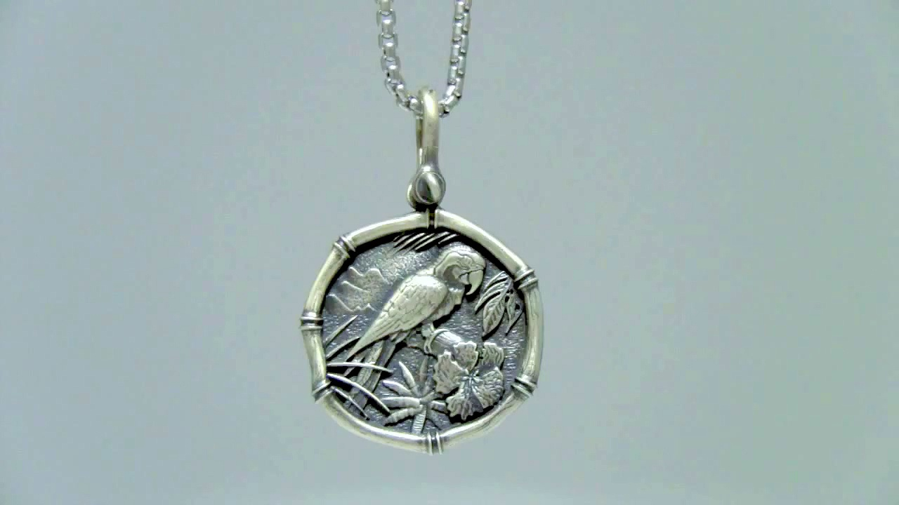 Guy Harvey Jewelry Macaw Necklace Sterling Silver on Box Chain Parrot
