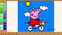George And Peppa Riding Bike Peppa Pig Coloring Pages 30 Min Video