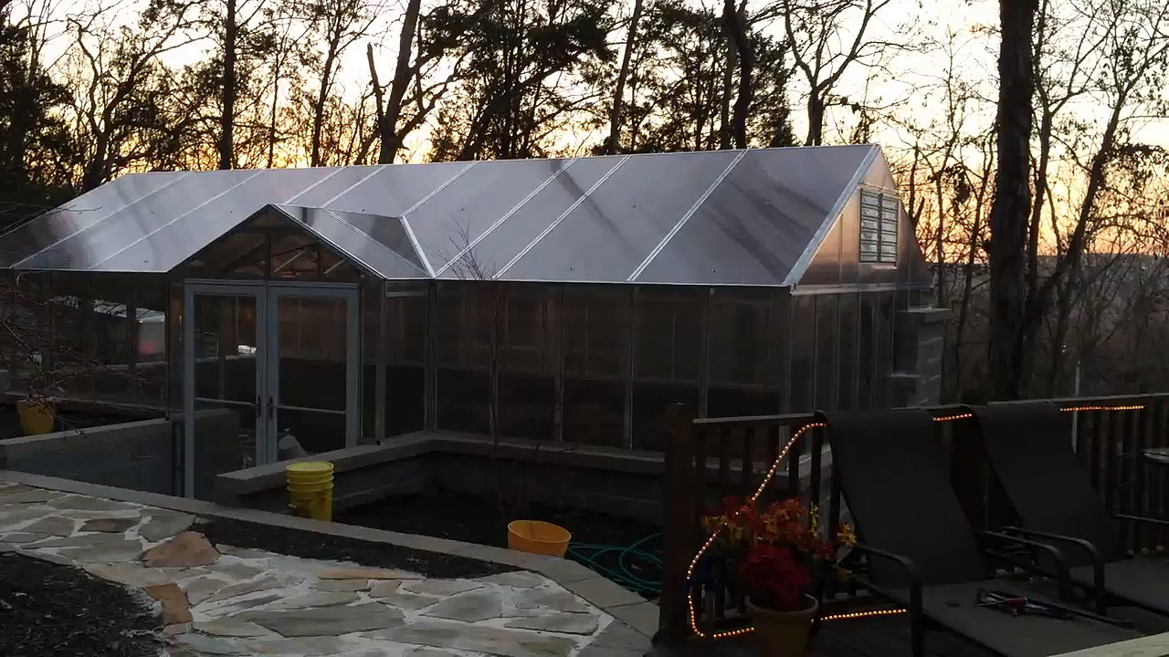 Aquaponics Greenhouse Aluminum and Glass Top Installation complete