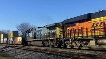BNSF 7081 w/ CSX Power Leads Stack Train 11/9/15