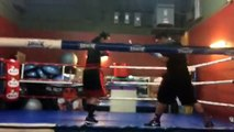 Crazie Locs smooth sparring with partner