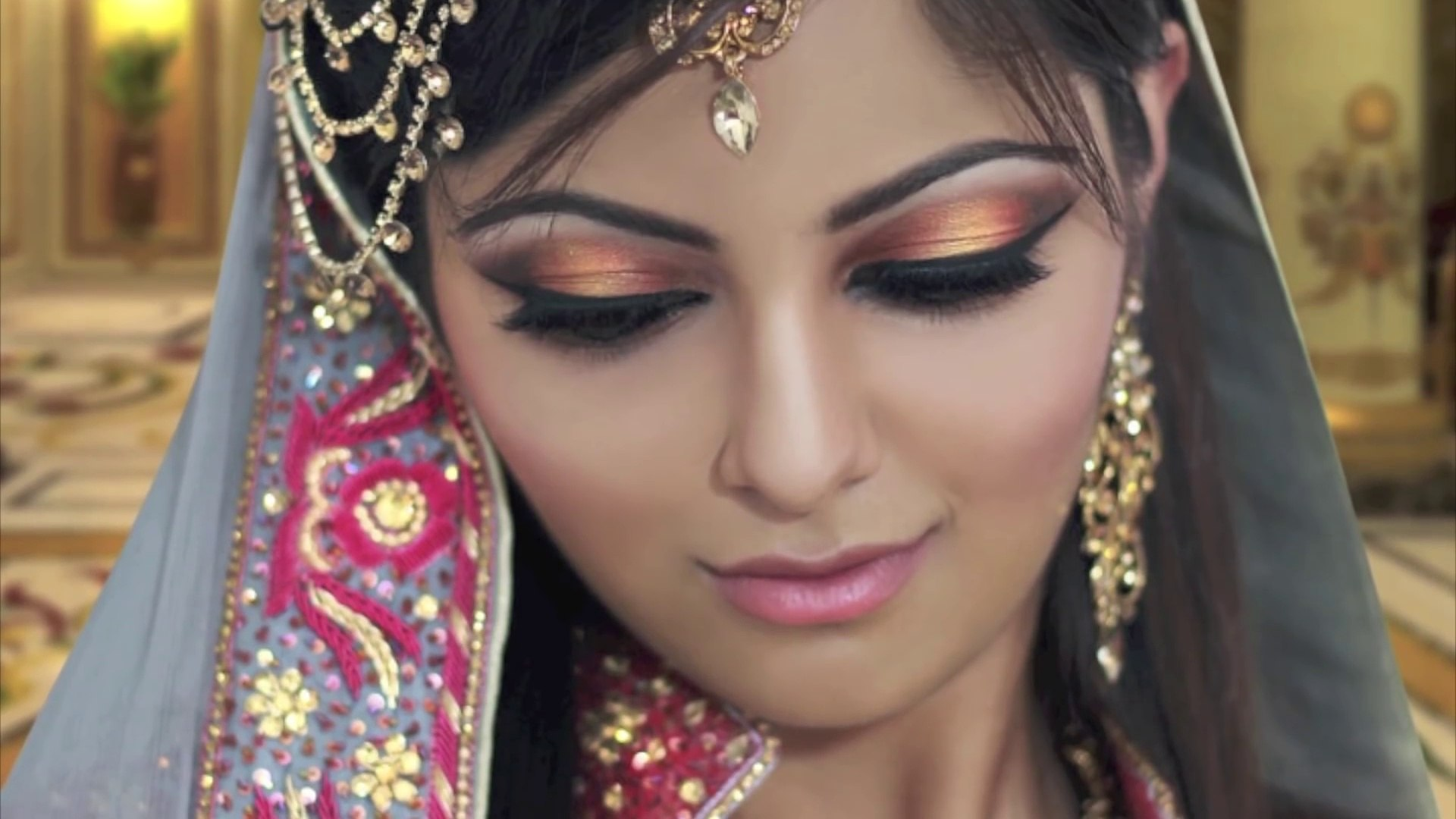Gold And Peach Mehndi Makeup Tutorial