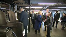 Hillary Clinton rides the New York subway ahead of primary