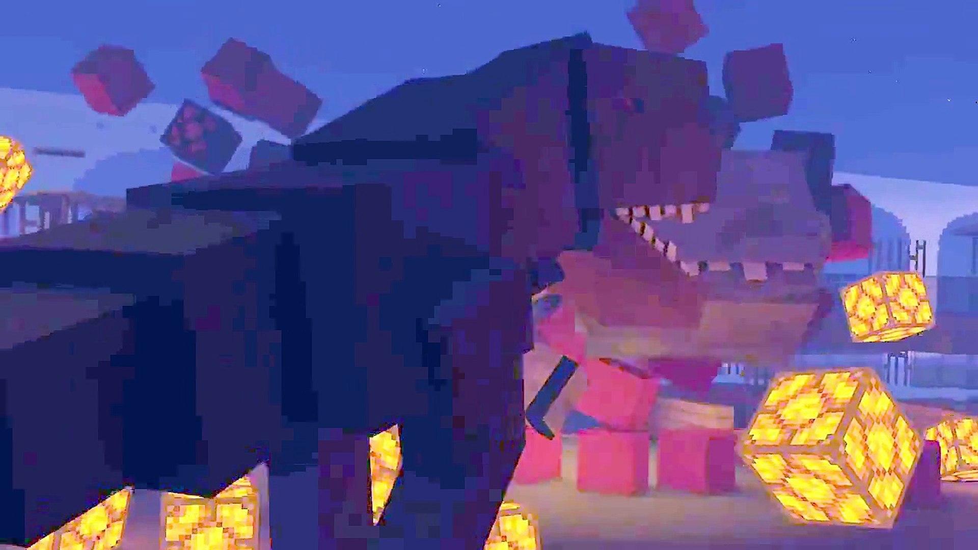 Minecraft Jurassic World Animation  Blue vs Indominus Rex vs T Rex! Parte 2