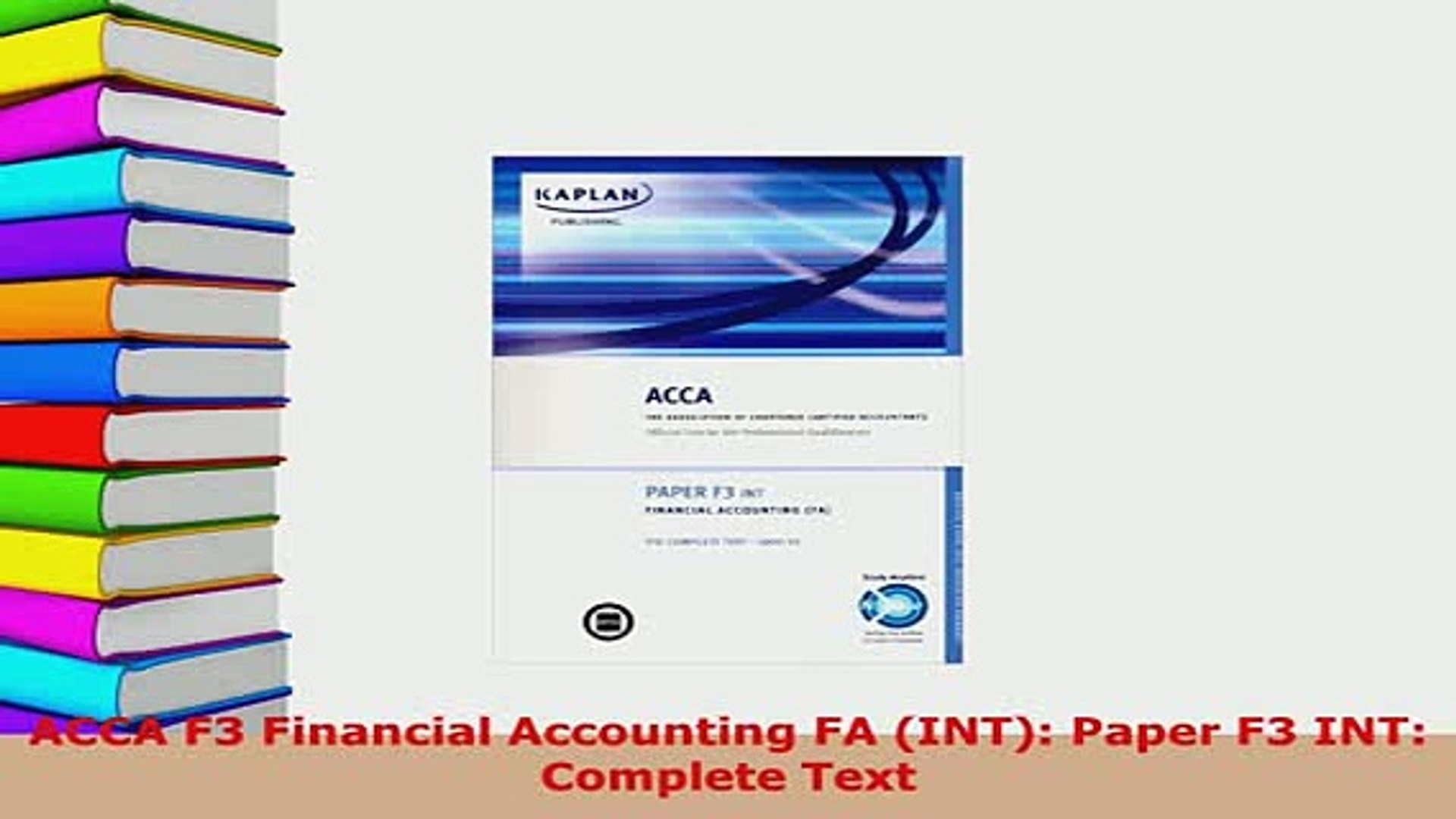 PDF ACCA F3 Financial Accounting FA INT Paper F3 INT Complete Text Read  Online