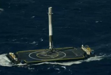 First Successful Barge Landing for Falcon 9 First Stage