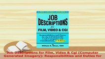 PDF  Job Descriptions for Film Video  Cgi Computer Generated Imagery Responsibilities and Download Online