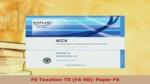 PDF  F6 Taxation TX FA 08 Paper F6 Read Full Ebook