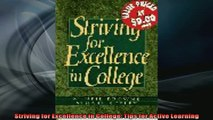 FREE PDF  Striving for Excellence in College Tips for Active Learning  DOWNLOAD ONLINE