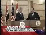 Bush Shoe thrown - 2 shoes thrown at President Bush during press conference in Iraq