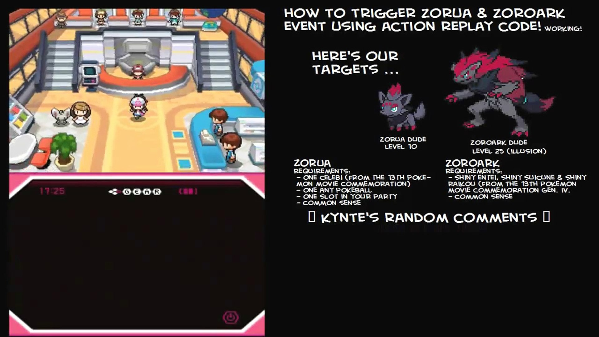 How To Trigger Zorua And Zoroark Event Action Replay Code Pokemon Black White Working
