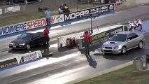 DRAG RACE Honda Civic Turbo vs Subaru WRX STI -hot asphalt 2014