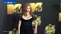 Jessica Chastain in black lace at the 2016 MTV Movie Awards